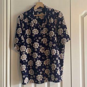 Navy short sleeve floral shirt